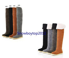 Women's Winter Warm Low Heel Shoes Over Knee Thigh High Boots AU All Size B025
