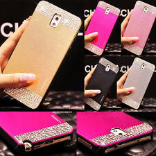 New Bling Crystal Brushed Metal ALUMINUM PC Back Case Cover for Samsung Phones