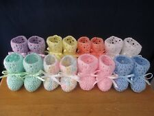 Crocheted baby booties size 3 to 6 months