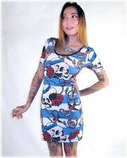 Liquorbrand Nautical Sailor Skull Stretch Bodycon Dress Tattoo Rockabilly Punk