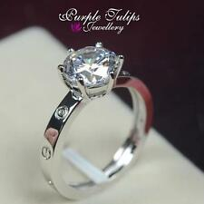 18K White Gold GP Love Pattern 2.0 Carat Round Cut Created Swarovsk Diamond Ring
