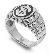 Dollar Money Sign Ring, 925 Sterling Silver, Rich Hip Hop, Free Jewelry Gift Box