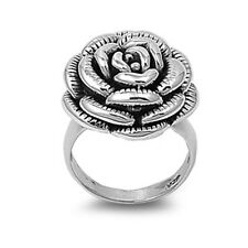 Silver Rose Flower Ring, 925 Sterling, Bold Style, Cute Look, Jewelry w Gift Box