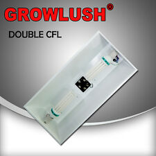 Hydroponics Large double CFL lamped Reflector Grow light cooling fan + 2x LAMPS