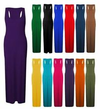 WOMENS LADIES JERSEY MUSCLE RACER BACK MAXI LONG SUMMER DRESS PLUS SIZES 8 -26