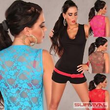 Womens Sexy Top Size 8-10 Party Club Wear Casual Sleeveless Ladies Lace Shirt