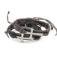 Men's Retro PU Leather Hemp Cross Weave Cross Alloy Wrap Wrist  Band Bracelet