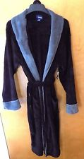 NEW MENS BLACK WITH GRAY TRIM SOFT LONG ROBE  OSFM  ONE SIZE FITS MOST