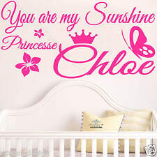 You are my Sunshine Princess with personalised NAME wall decal transfer sticker