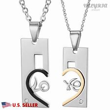 VALYRIA 19.6'' Silver Stainless Steel love Heart Puzzle Pendant Couple Necklace
