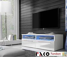 TV Unit Stand Cabinet No6 White body, Black or White High Gloss doors+LED.