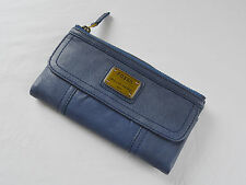 Fossil Emory Marina Blue Leather Clutch Wallet