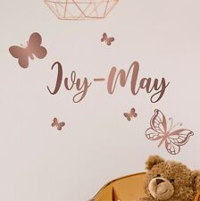 PRETTY personalised Name with BUTTERFLIES Wall Art sticker decal Girls Room NA17