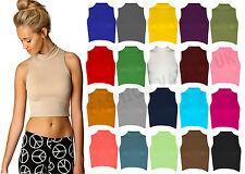 GIRLS LADIES HIGH NECK SLEEVELESS VISCOSE CROP TOP WOMENS POLO TOP SIZE 8-14