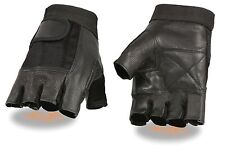 Mens Mesh & Leather Combo Fingerless Glove for Bikers Truckers or Weightlifters