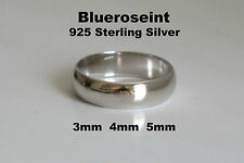Unisex 925 Sterling Silver Plain Wedding Engagement Band Rings - Size 6 to 10