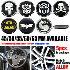 5pcs Car Tyre Steering Wheel Center Hub Cap Decal Sticker Alloy Cover Universal