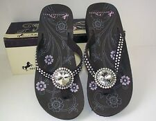 NWT Montana West Diamond Round Coffee Comfortable Bling Flip Flops Summer Fun!