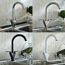 Swivel Spout Mono Kitchen Sink Mixer Tap Twin Lever Chrome Brushed White Black