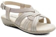 Padders Womens Ladies Leather Wide Fit Buckle Summer Strappy Sandals Nude Beige