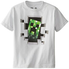 Officially Licensed Minecraft Creeper Inside Silver  Youth T-Shirt.