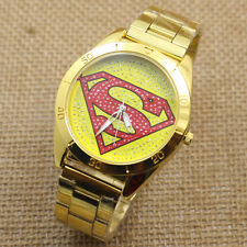 Superman Golden Crystal Round Dial Stainless Steel Quartz Wrist Watch Men Women