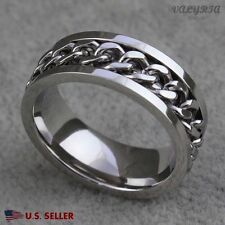 VALYRIA Men's 316L Stainless Steel Silver Spinner Band Ring w/ Curb Chain USA