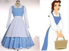 New Adult Princess Belle Costume Beauty and The Beast  Blue Maid Fancy Dress