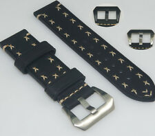 Black Cowhide Leather Watch Band Strap Hand Stitched 20 22 24 26mm