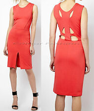 New French Connection 4 - 16 Stephanie Red Bodycon Cut-out Jersey Party Dress