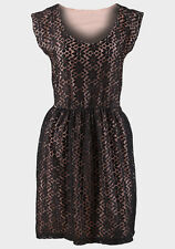 Ex-Dorothy Perkins black lace skater dress with peach lining