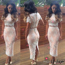 Womens Summer Nude Lace Two Piece Party Occasion Cocktail Set Bodycon Midi Dress