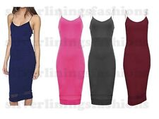 New Womens Mesh Panel Insert Strappy Cami Crepe Bodycon Midi Dress Ladies 8-14