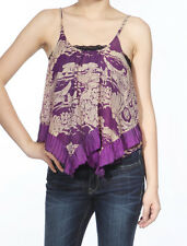 Women Sexy Cotton Camisole Tank Top Cropped Vest Hem Sleeveless Shirt Purple