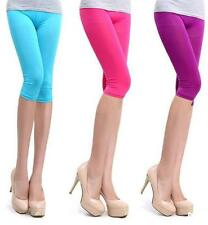 DI CA Summer sexy thin Women 3/4 Length Cropped Basic Leggings Capri Pants Tight