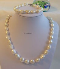 Silvered genuine 10-11mm Baroque freshwater pearls necklace/bracelet 16-60cm