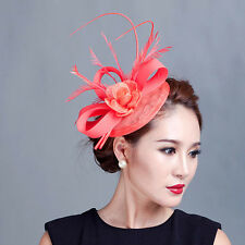 Women party races fancy fascinator feather handmade hair accessories with floral