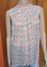 Fcuk French Connection Floral Sheer Sleeveless Button Down Blouse Sz 8 or 10 NWT
