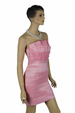 Ladies Evening Wedding Pink Satin Formal Races Womens Strapless Mini Dress 10 12