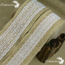 Natural Jute Burlap Hessian Ribbon With Lace Trim Edge Vintage Wedding Rustic