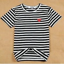 4 Sizes BLACK 2015 COMME DES GARCONS CDG PLAY STRIPED SHORT SLEEVE RED T-SHIRT