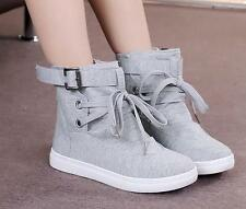 Women Fashion Breathable Buckle Lace Up Flats Heel Ankle Tip Casual Canvas shoes