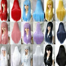 Hot Cheap Candy Colors Womens Long Straight Cosplay/Halloween Full Hair Wigs