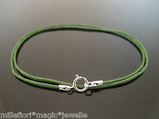 "1mm Dark Green Waxed Cord & 925 Sterling Silver Necklace 14"" 16"" 18"" 20"" 22"" 24"""