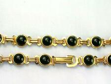 Black onyx stone genuine 14k gold filled 6mm wide 7 or 8 inches long bracelet