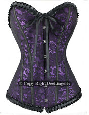 PURPLE GOTH SATIN LACE OVERLAY CORSET + G-STRING SIZE S,M,L