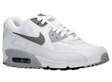 NEW WOMENS NIKE AIR MAX 90 RUNNING SHOES TRAINERS WHITE / WOLF GREY / BLACK