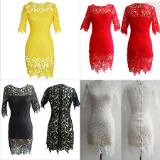 2015 Sexy Women Lace Mesh Evening Party Clubwear Bodycon Maxi Dress UK Size 6-16