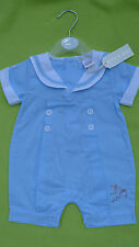 Baby boy blue sailor style outfit wedding christening 100% cotton