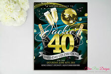 Bling Birthday Invitations - 16th, 18th, 21st, 30th, 40th, Any Age, Best Quality